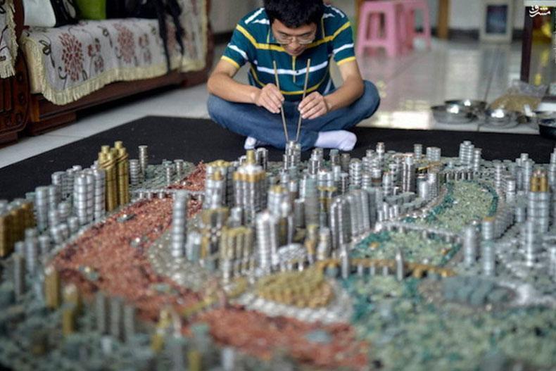 ساخت شهری از سکه توسط هنرمند چینی