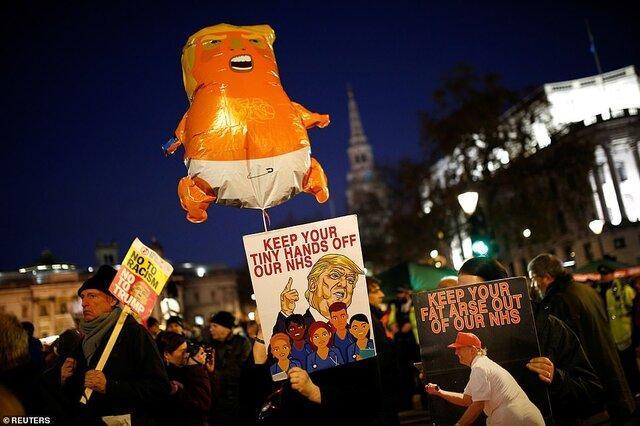 تجمع اعتراض آمیز مردم در لندن علیه ترامپ