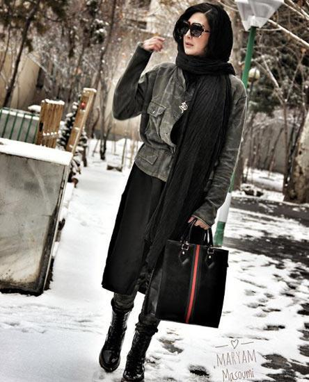 مریم معصومی در برف پاییزی
